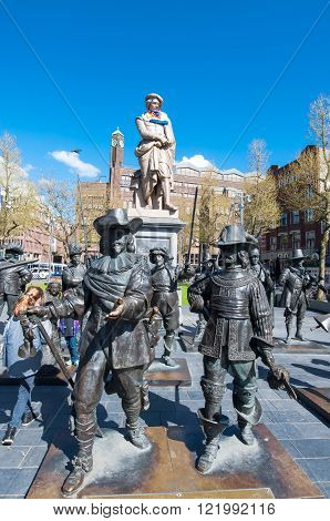 Amsterdam-April 30: The Night Watch representation by Russian artists Mikhail Dronov and Alexander Taratynov on Rembrandtplein on April 30 2015 the Netherlands.