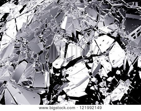 Shattered Glass Isolated On Black Background