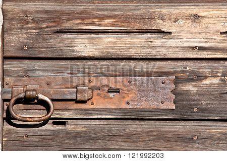 wood door with doorlock
