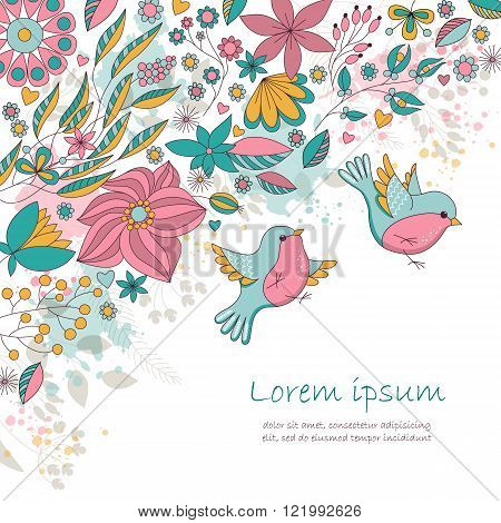 Vector card with flowers and birds. Cute floral background. Romantic card. Perfect for greetings, invitations, announcement, wedding design.