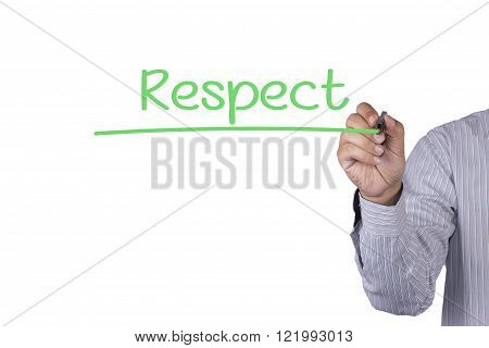 Man Hand writing Respect marker on visual screen. Isolated on white. Business technology internet concept. Stock Image
