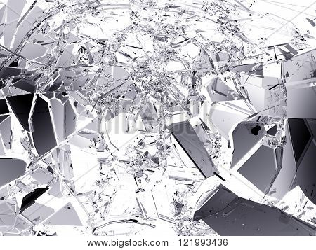 Pieces Of Broken Or Shattered Glass Isolated