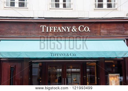 AMSTERDAM-APRIL 30: Tiffany & Co store in the P.C.Hooftstraat shopping street on April 302015 in Amsterdam. The American luxury jewelry retailer was founded in September 18 1837 by Charles Tiffany.