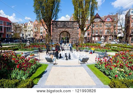 AMSTERDAM-APRIL 30: The Garden at the Rijksmuseum (State Museum) on April 30 2015. The Rijksmuseum is the most important art museum in the Netherlands with thousands of old paintings.