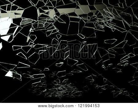 Shattered And Broken Glass On Black