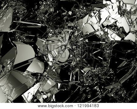 Shattered Glass: Sharp Pieces On Black