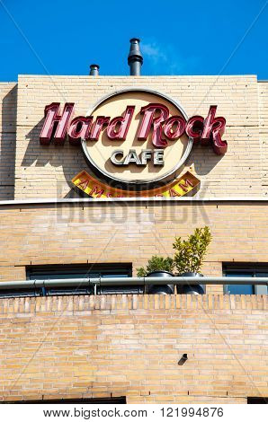 AMSTERDAM-APRIL 30: Hard Rock Cafe signage on Singelgrachtkering Canal on April 30,2015. Hard Rock Cafe Amsterdam offers an immersive experience in the waterside restaurant and cocktail bar.