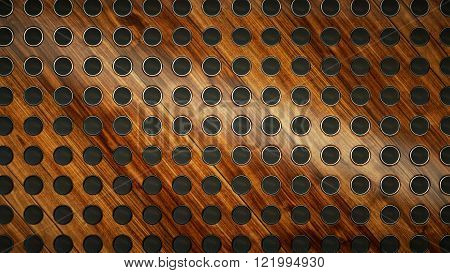 Speakers On Wooden Background As Music And Sound Concept