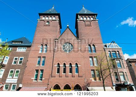 AMSTERDAM-APRIL 30: Front view of Amsterdam Fatih Mosque on April 302015 the Netherlands. The mosque is located in a former Catholic church in Jordaan district.