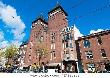 AMSTERDAM-APRIL 30: Fatih Mosque in the Rozengracht street on April 302015 the Netherlands. The mosque is located in a former Catholic church in Jordaan district.