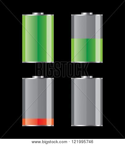 Set of charged and discharged battery icons. Vector illustration.