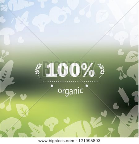 Organic product label on stylish background with vegetables
