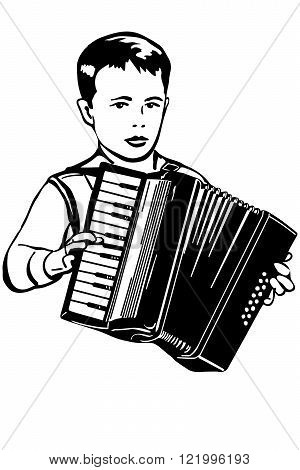 black and white vector sketch of boy plays music on the accordion