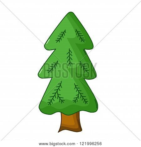 Spruce Tree Icon, Cartoon Style