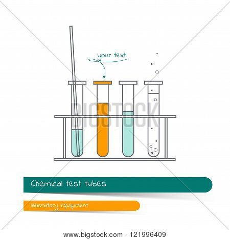 Flat line icon set of chemical test tubes with blue orange and clear liquid on a stand. Card on the subject of the chemical laboratory contains a banner for text with a shadow and a hand-drawn arrow with the text. Vector illustration in outline style.