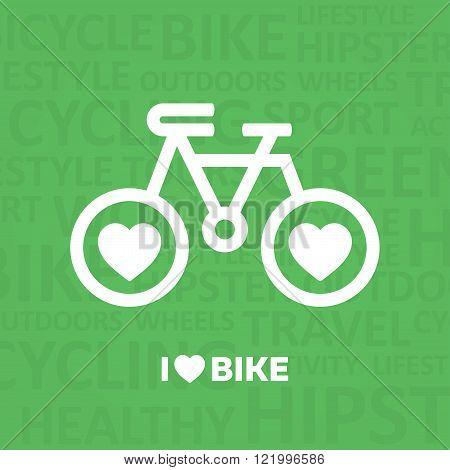 I love Bike. Bike poster. Bike icon.