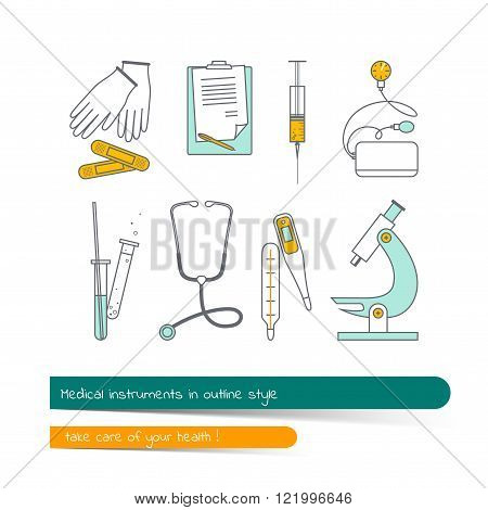 Flat Line Icon Set Of Medical Instruments.