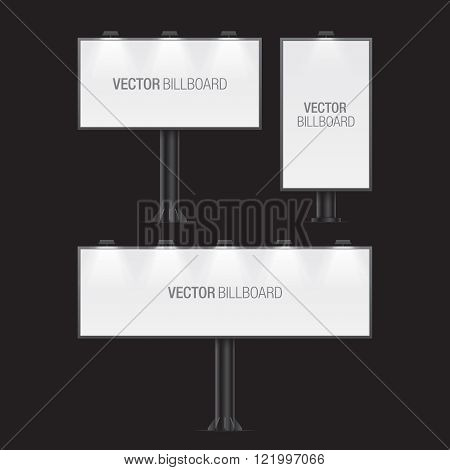 Vector billboard. Set of realistic vector billboards in different sizes. White billboard.