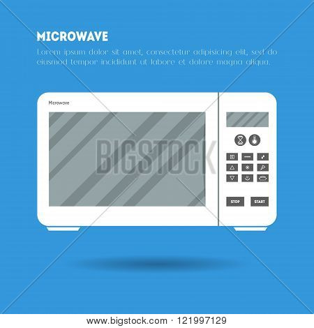Flat microwave icon illustration. Modern trendy design of flat electronic equipment illustration on blue background. Poster leaflet or banner template with place for text. Vector kitchen appliance