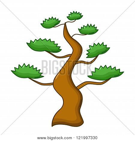 Bonsai Tree Icon, Cartoon Style