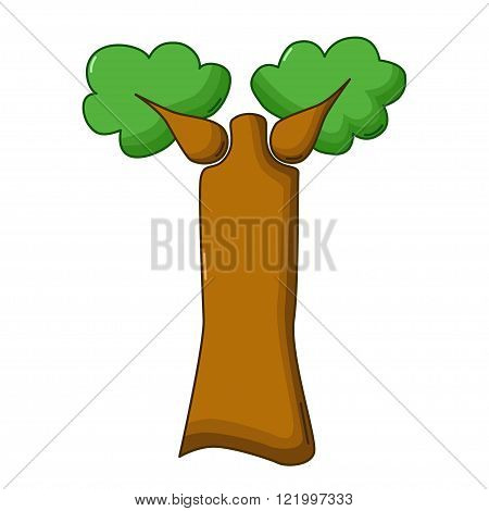 Baobab Tree Icon, Cartoon Style