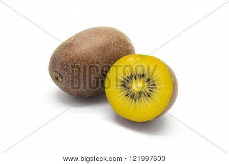 Gold kiwifruits on a white isolated background