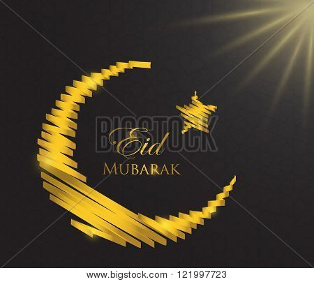 Gold crescent ribbon moon holiday symbol islam pattern background
