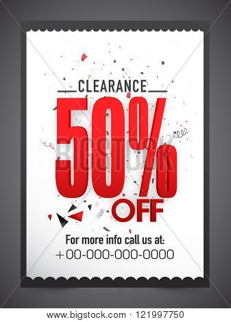Clearance Sale Flyer, Banner or Pamphlet with 50% discount offer.