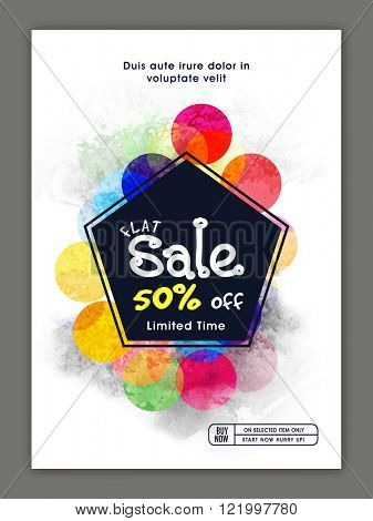 Stylish Sale Flyer, Banner or Pamphlet with flat 50% discount offer for limited time only.