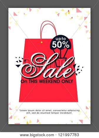 Weekend Sale Flyer, Banner or Pamphlet with 50% discount offer.