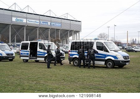 MAGDEBURG, GERMANY - MARCH 05, 2016: police presence during the football game 1.FC Magdeburg against FC Hansa Rostock in Magdeburg