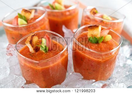 Cold tomato soup (gazpacho) in glasses on tray with ice.