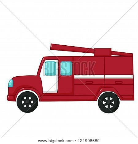 Red Fire Engine Car Icon, Cartoon Style