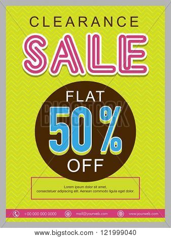 Clearance Sale Banner, Sale Poster, Sale Flyer, Sale Vector. 50% Off, Sale Background,  Vector illustration.