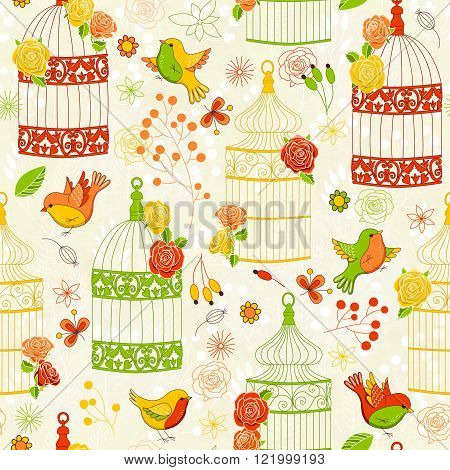 Vector seamless pattern with birds birdcages and flowers. Colorful illustration. Perfect for invitations, manufacture wrapping paper, textile, wedding and web design.