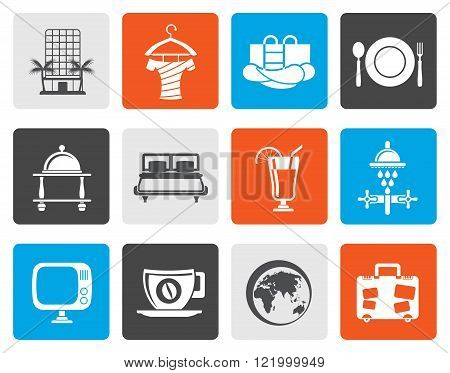 Flat Hotel, motel and holidays icons - vector icon set