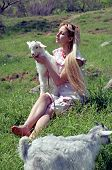 picture of shepherdess  - folk woman with kid - JPG