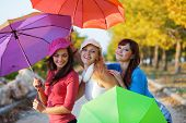 picture of teenage girl  - Three fashion teenage girls posing with colorful umbrellas in autumn park - JPG