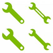 Wrench Flat Vector Symbols poster