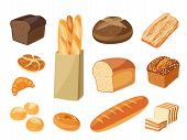 Постер, плакат: Set Of Cartoon Food: Bread Rye Bread Ciabatta Wheat Bread Whole Grain Bread Bagel Sliced Brea