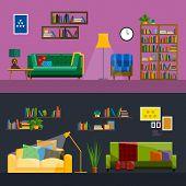 Living room Interior. Modern flat design illustration poster