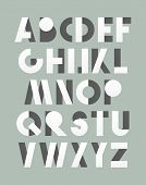 Retro font in white and grey. White alphabet. Realistic letters poster
