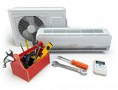 Air conditioner with toolbox and tools. Repair of air-conditioner concept. 3d poster