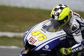 SEPANG, MALAYSIA â?? FEBRUARY 7: MotoGP rider Valentino Rossi rides a practice run for the Sepang In