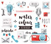 Blogging Elements Watercolor Vector Objects poster