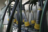 stock photo of suction  - new suction Milking Machines installed on farm - JPG