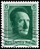 1937 vintage German postage stamp of Adolf Hitler Nuremberg was home of the Nazi rally of 1937 and t