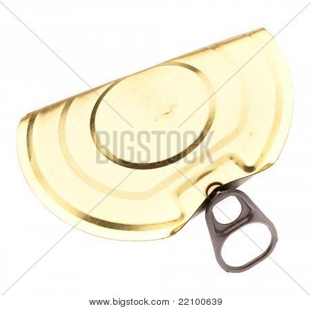 tin can ring pull isolated on a white background