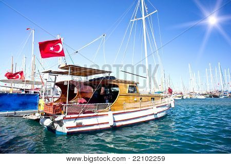 Yacht In Blue Bay Near Bodrum Town.