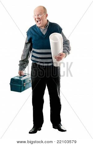 Confident Man With Toolbox And Roll Of Canvas